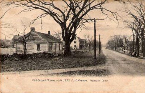 Old Schoolhouse Postcard 1826 || https://norwalkhistoricalsociety.org/